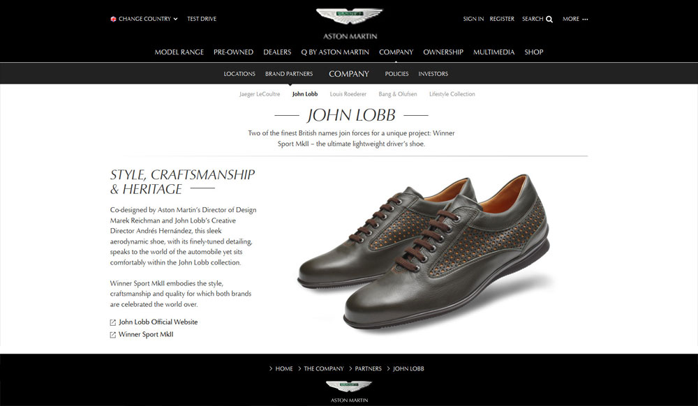 Aston Martin's renewed partnership with John Lobb to produce a driver's shoe.